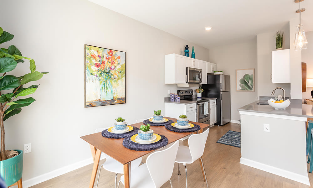 Dining room at Woodland Acres Townhomes in Liverpool, New York
