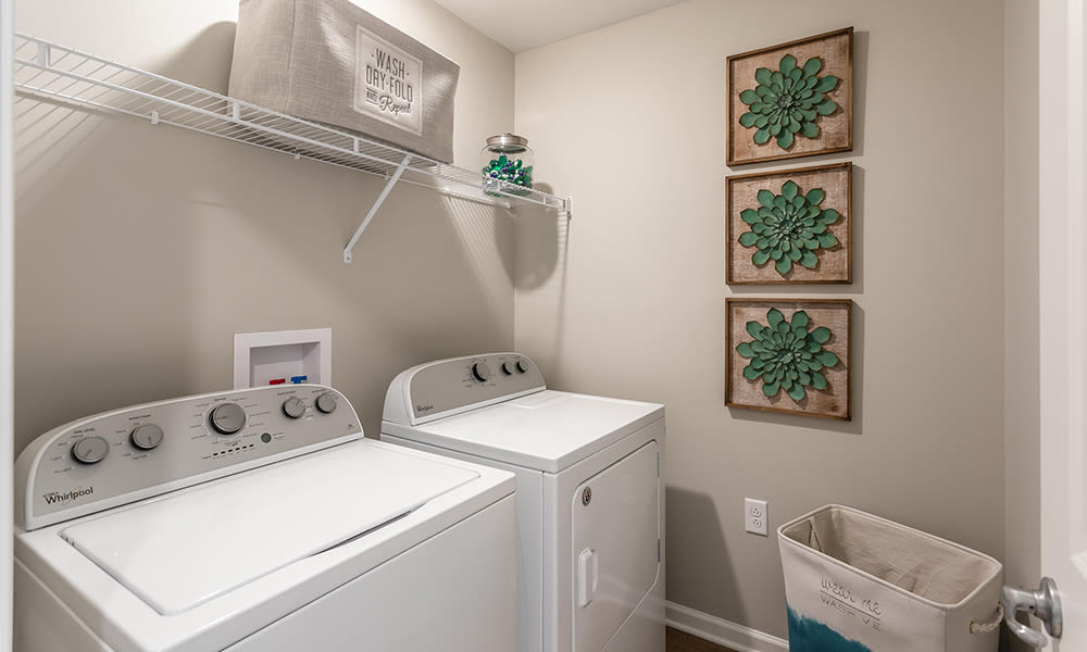 Laundry room at Woodland Acres Townhomes in Liverpool, New York