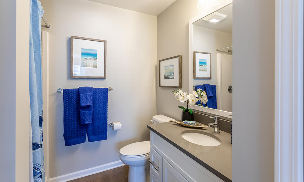 Bathroom at Woodland Acres Townhomes in Liverpool, New York