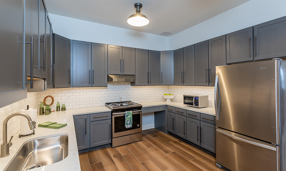 Beautiful community kitchen at Woodland Acres Townhomes in Liverpool, New York