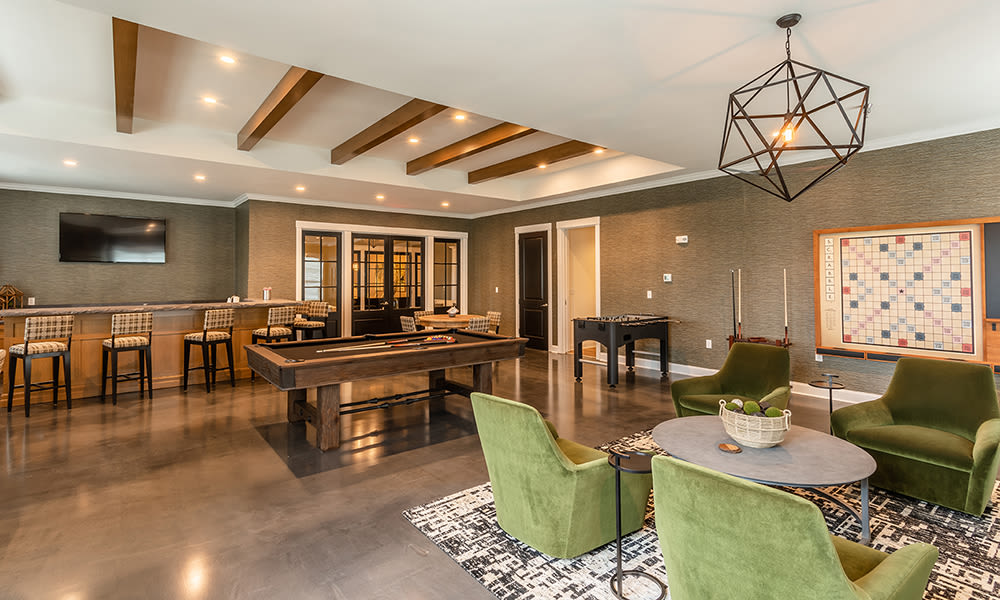 Enjoy a game room at Woodland Acres Townhomes in Liverpool, New York