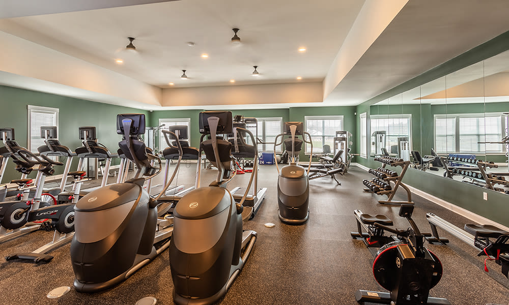State-of-the-art fitness center at Woodland Acres Townhomes in Liverpool, New York