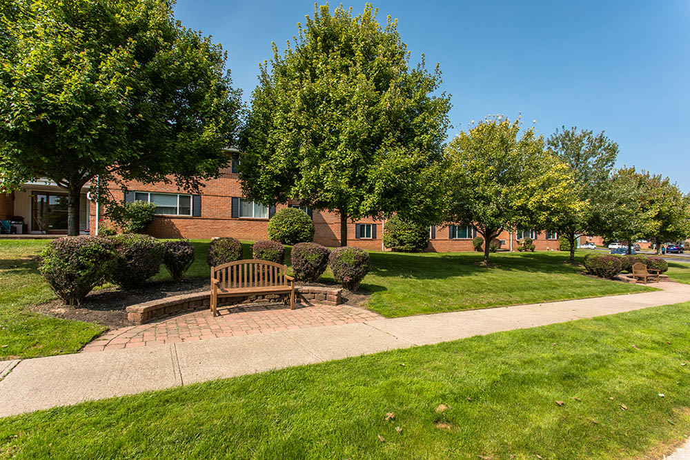 Spacious lawn at Perinton Manor Apartments in Fairport, New York