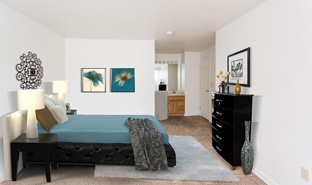 Bedroom at Riverton Knolls home in West Henrietta, New York