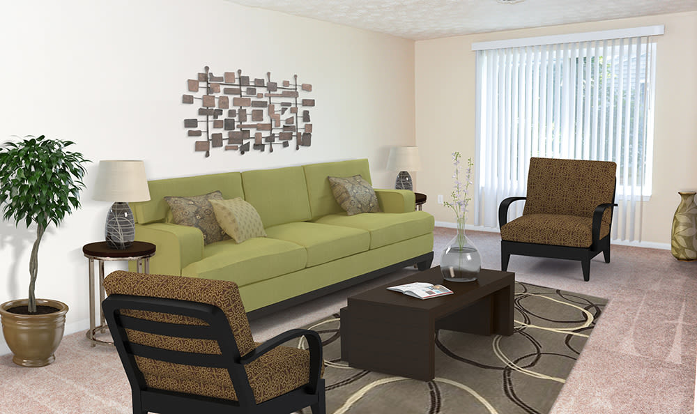 Cozy living room at Newcastle Apartments home in Rochester, New York