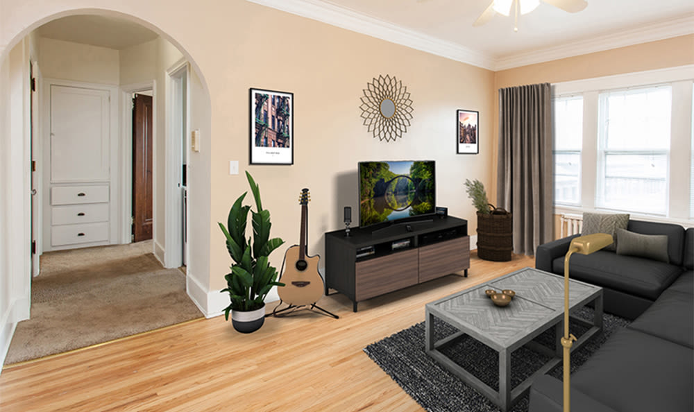 Living room at Barrington apartments in Rochester, New York