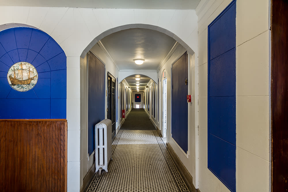 Internal hallway at Mayflower Apartments in Rochester, New York