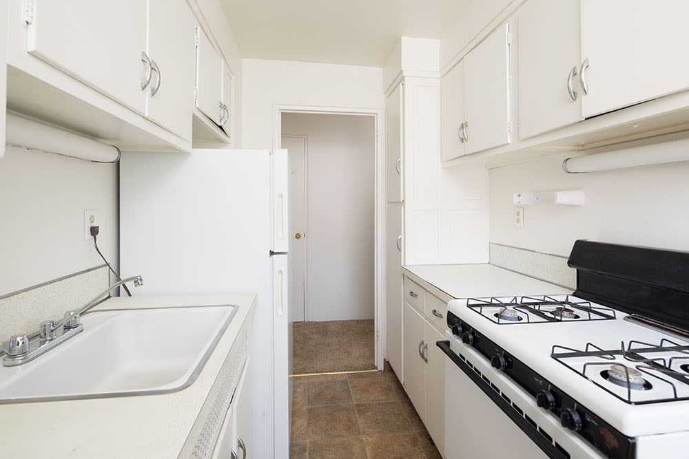 Bright kitchen at East Avenue Apartments in Rochester, New York