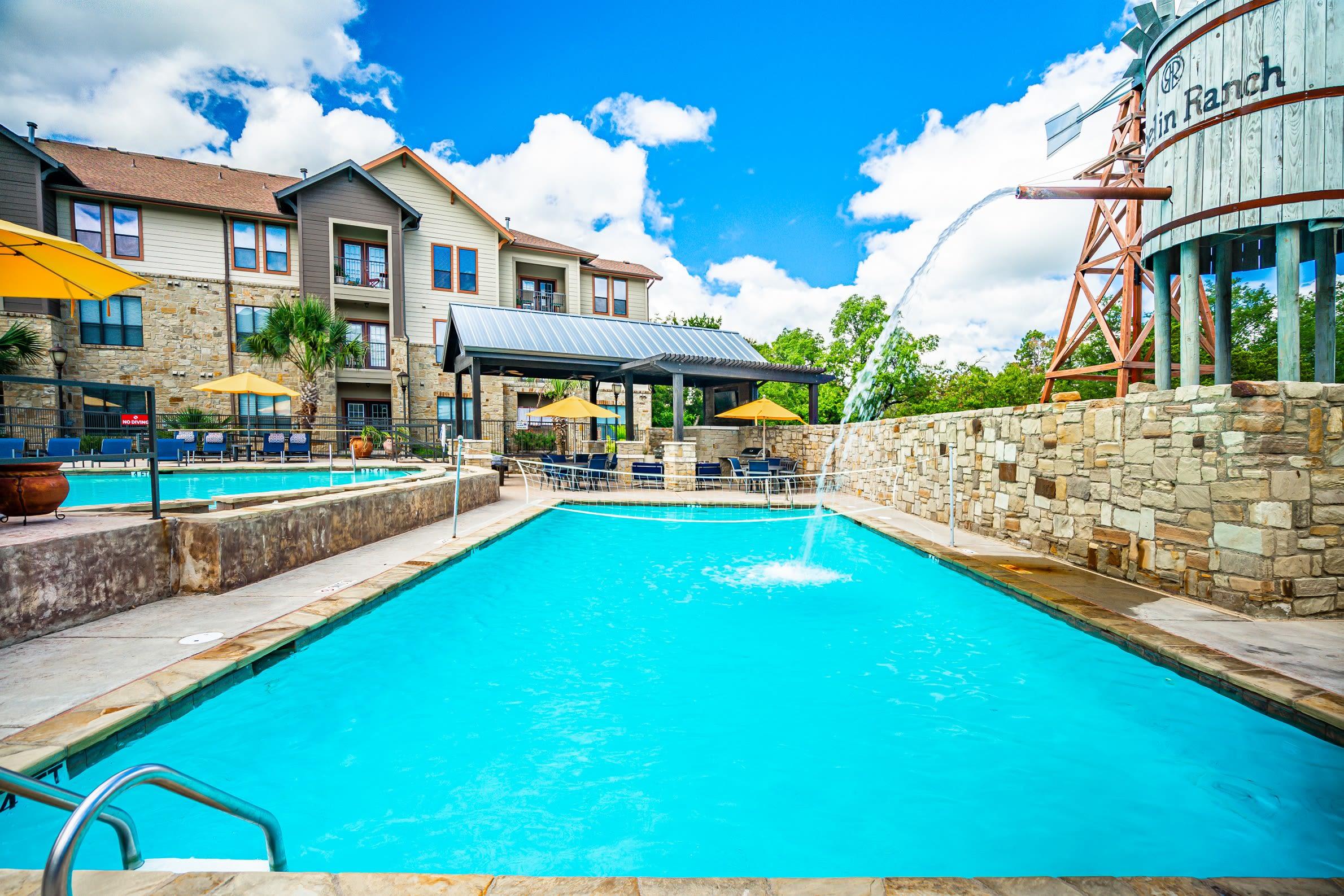 Resort style pool at The Asten at Ribelin Ranch in Austin, Texas