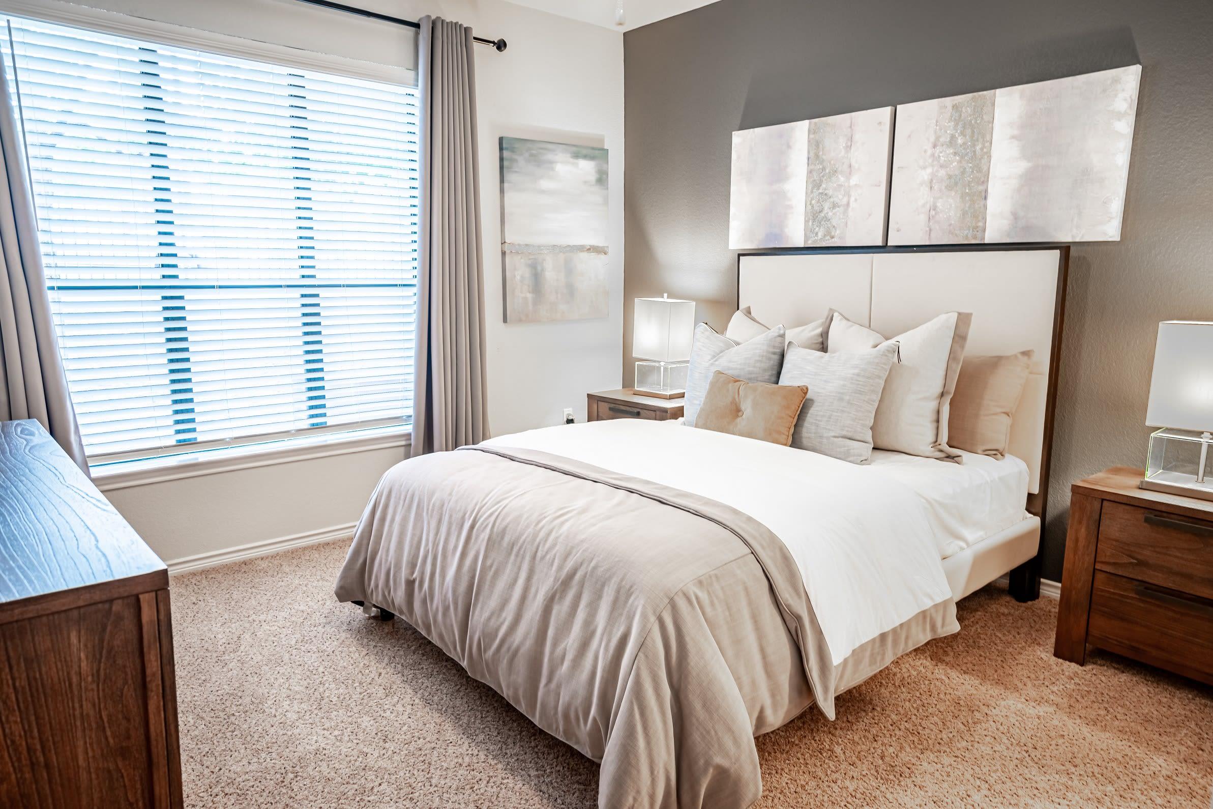 Model bedroom at The Asten at Ribelin Ranch in Austin, Texas