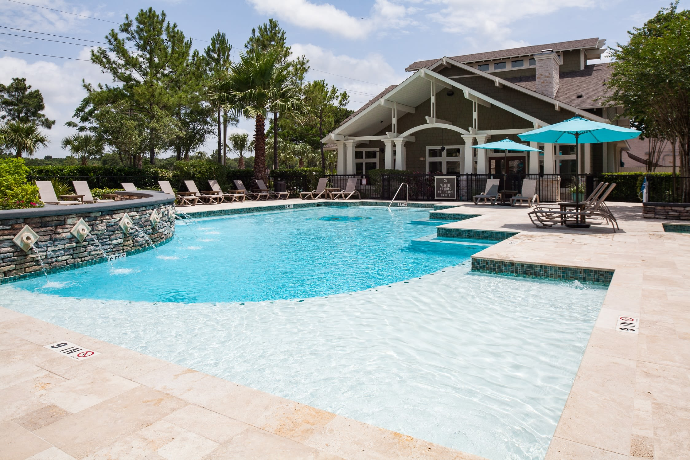 Outdoor pool at Lakefront Villas in Houston, Texas