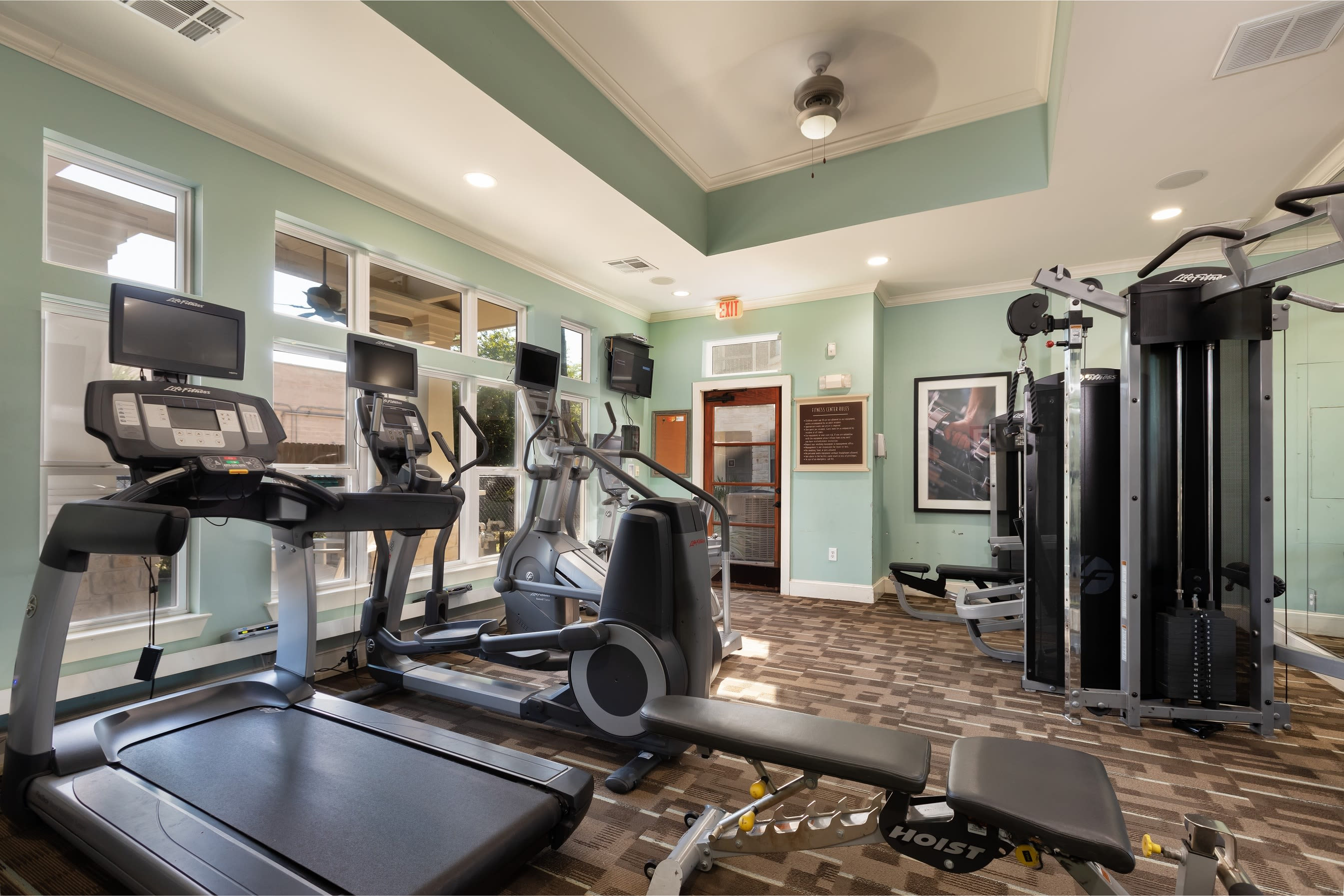 Fitness center at Lakefront Villas in Houston, Texas