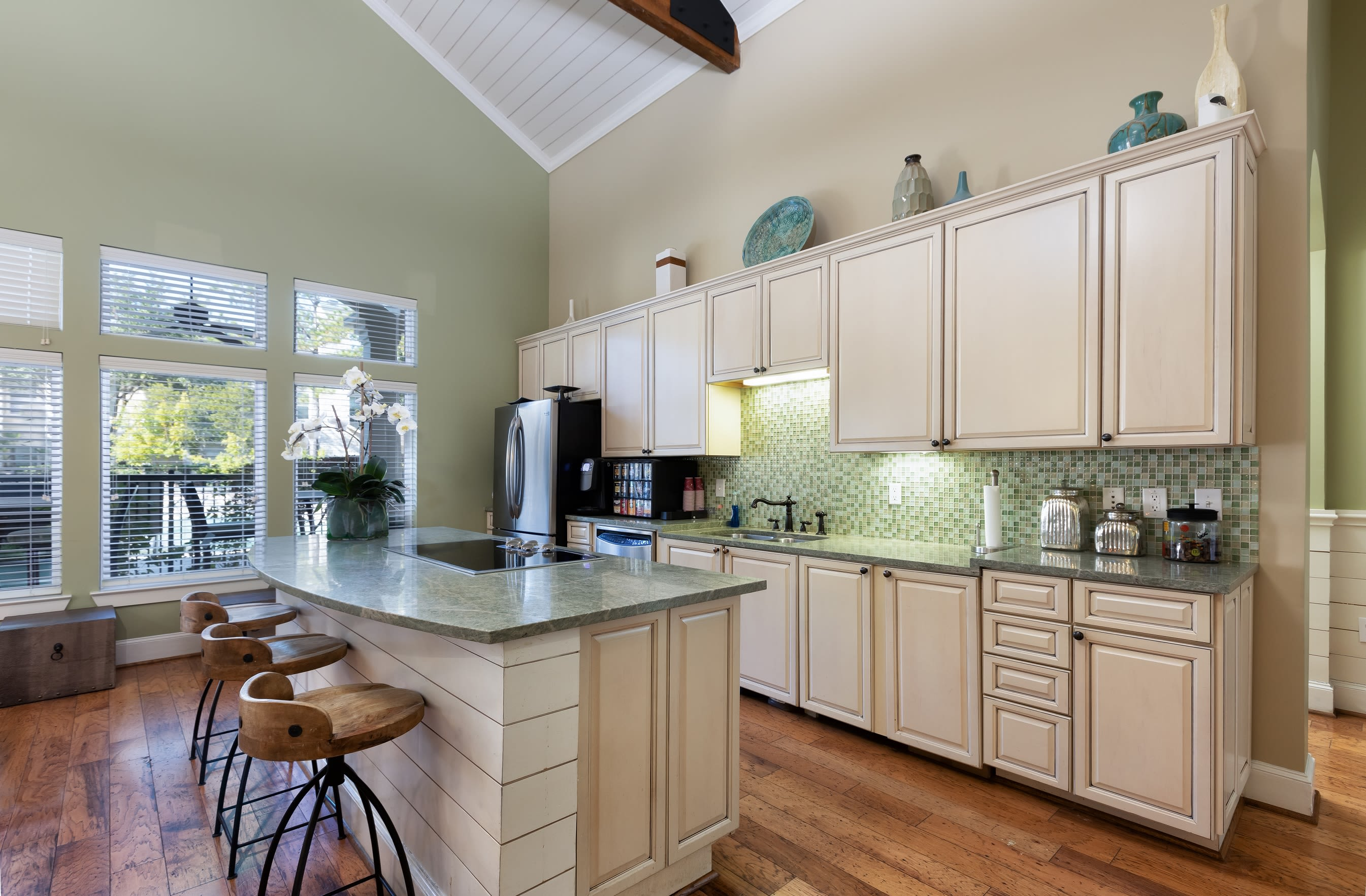 Kitchen with plenty of cabinet space at Lakefront Villas in Houston, Texas