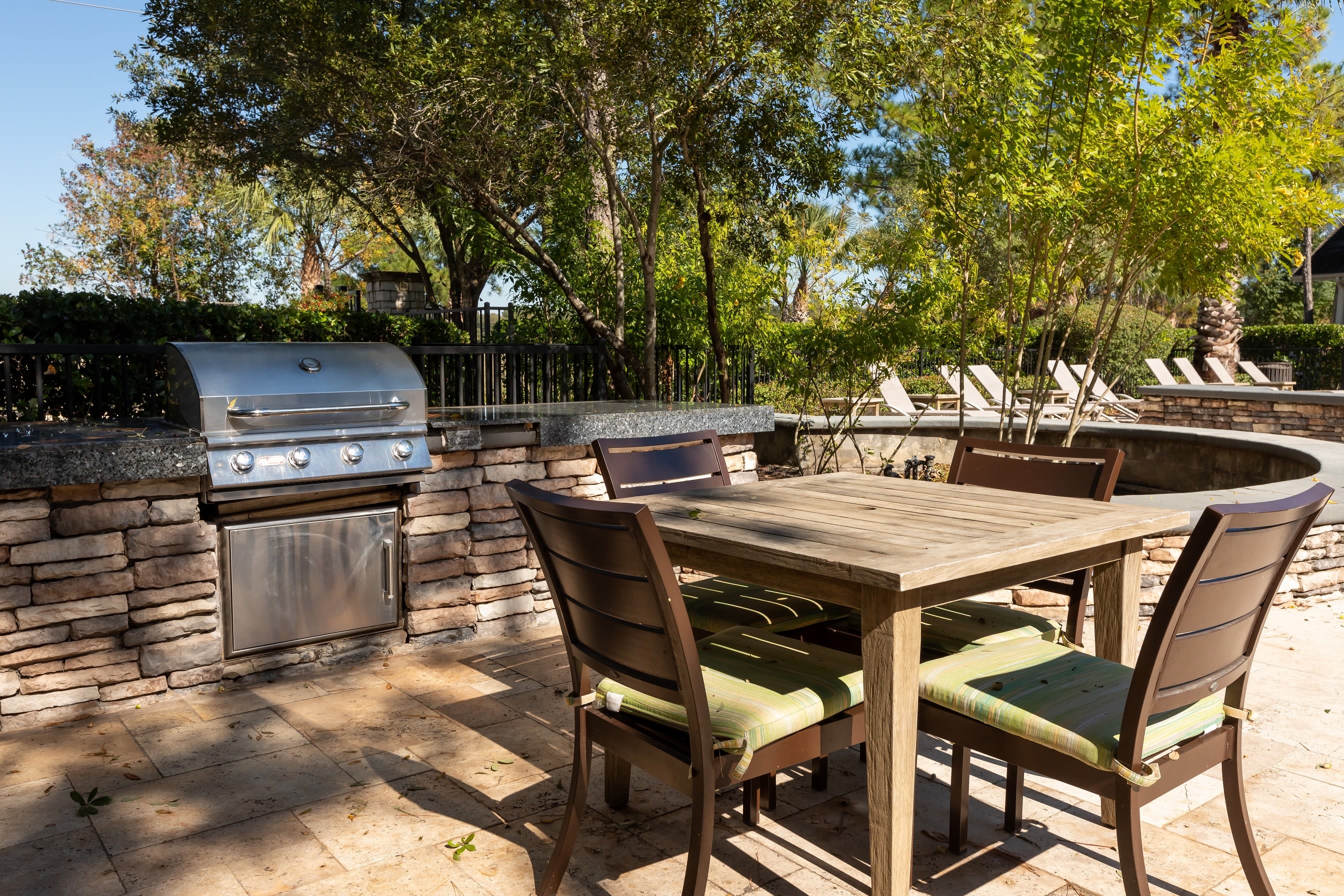 Outdoor grill at Lakefront Villas in Houston, Texas
