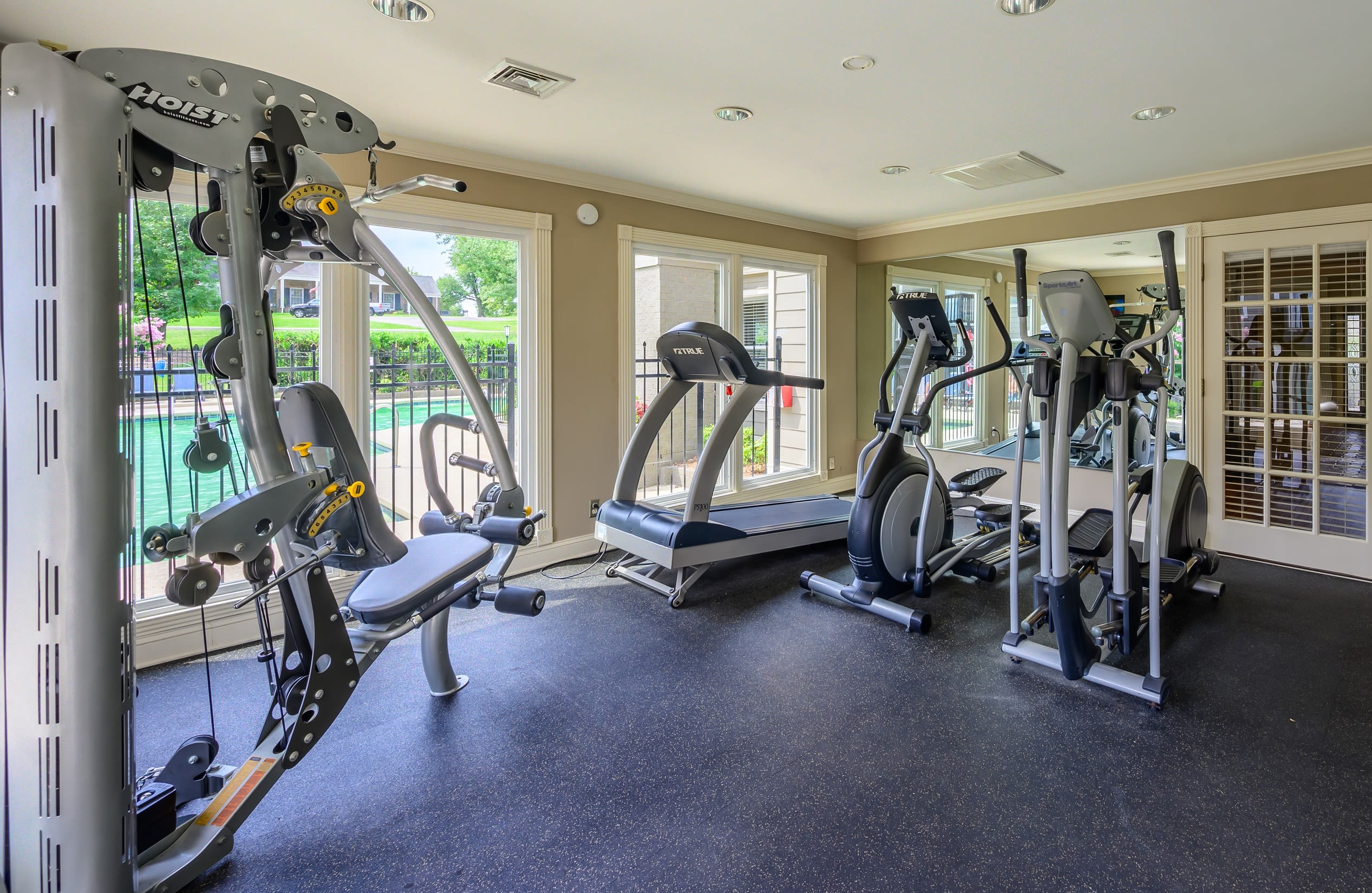 Plenty of workout stations at the resident gym at The Hamilton in Hendersonville, Tennessee