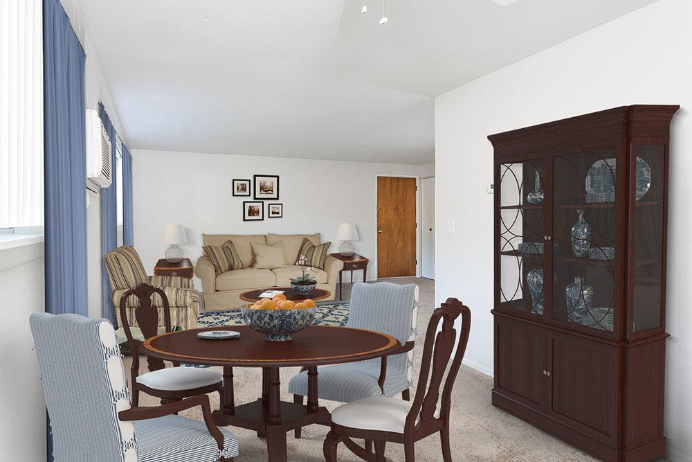 Dining room view at Long Pond Gardens Senior Apartments in Rochester, New York