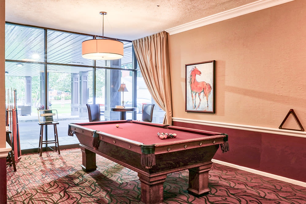 Billiards table at Oak Hill Terrace in Rochester, New York