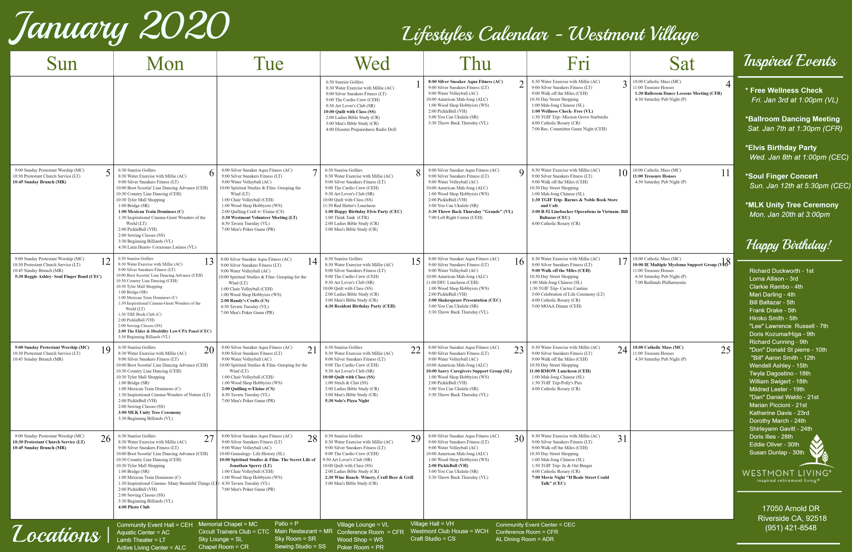 Placeholder calendar for Westmont Village in Riverside, California