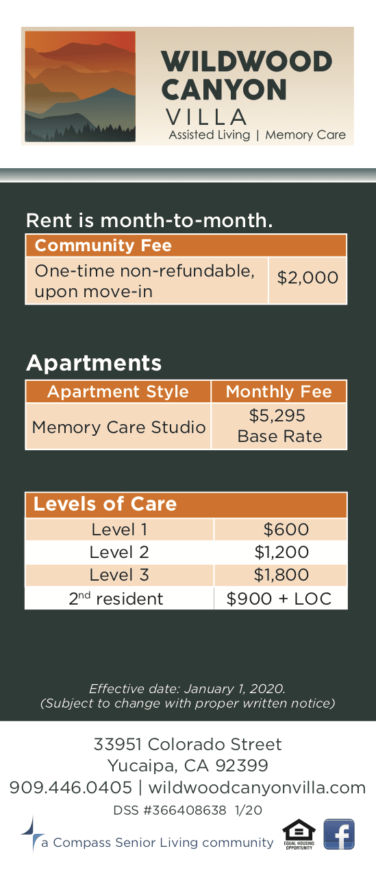 Memory care rates at Wildwood Canyon Villa Assisted Living and Memory Care in Yucaipa, California