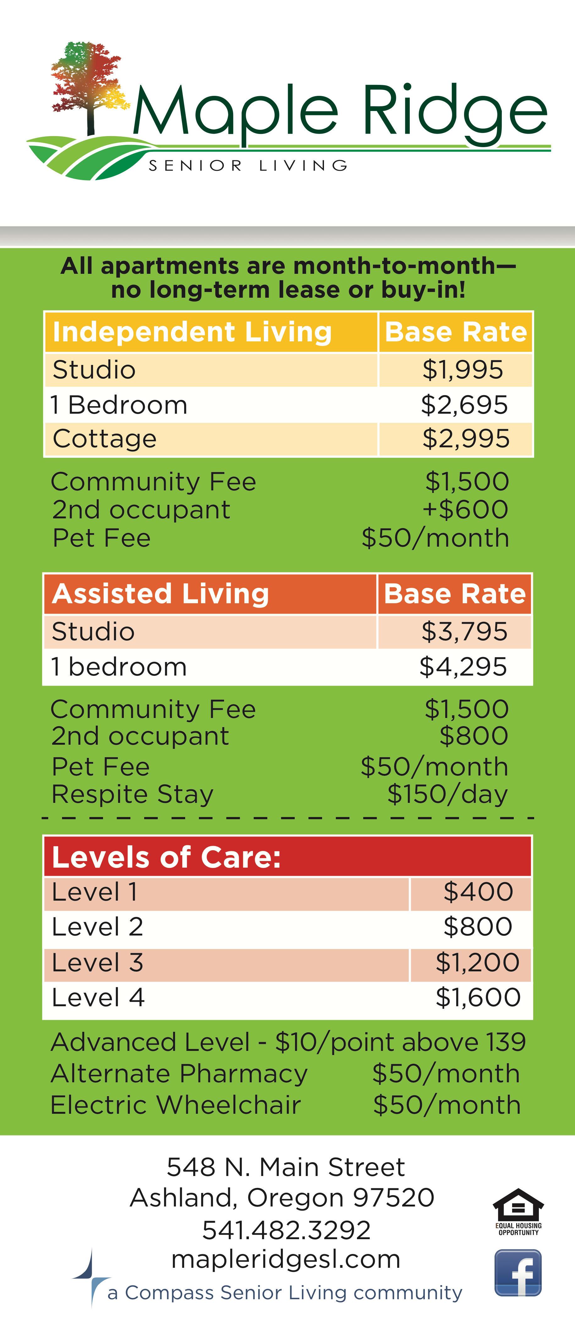 Rates Sheet at Maple Ridge Senior Living