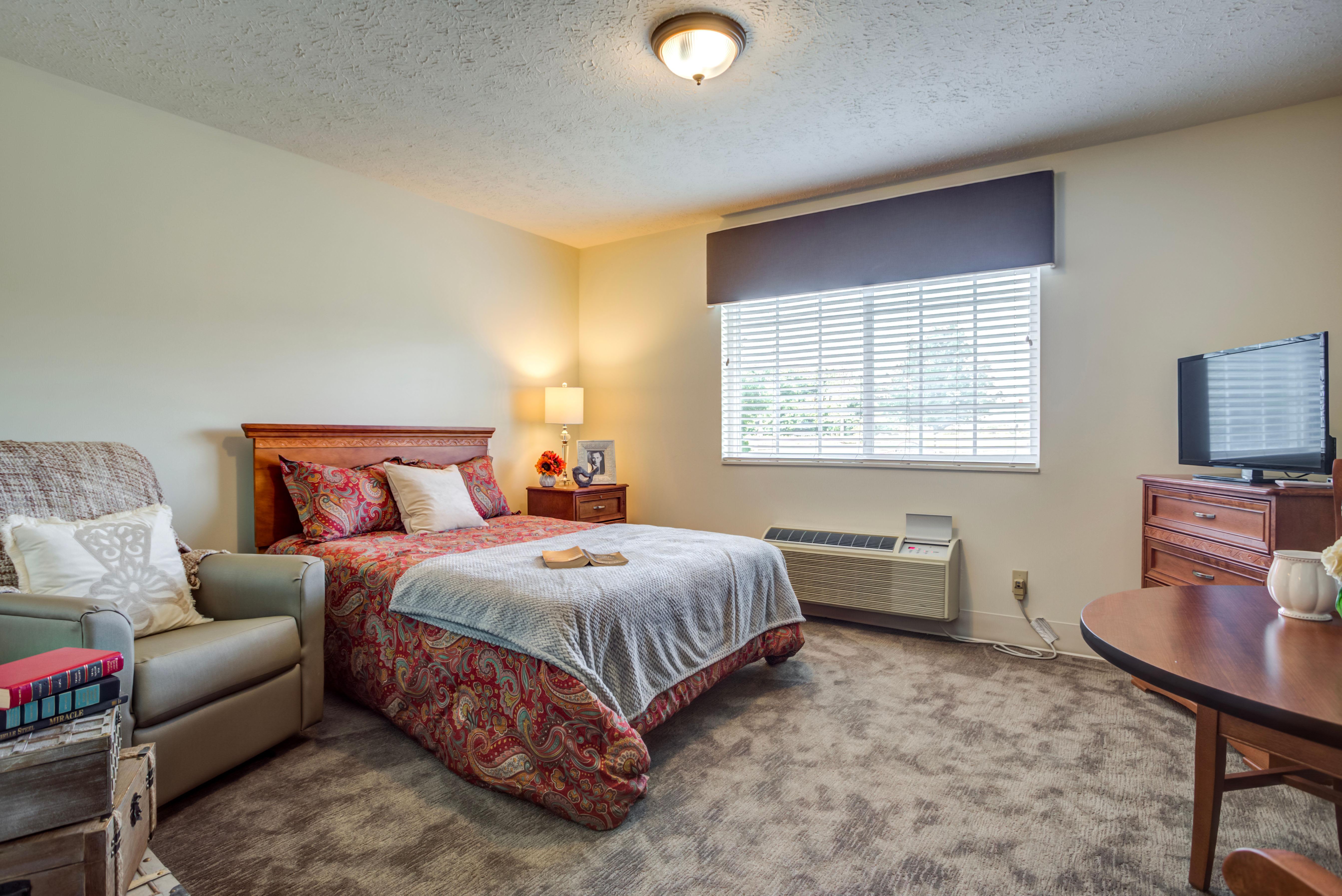 Model bedroom at Glen Ridge Health Campus in Louisville, Kentucky