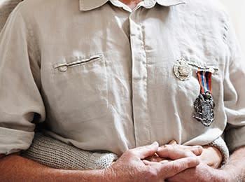 A veteran resident at Grand Villa of Sarasota in Sarasota, Florida