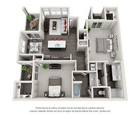 Download All 2 Bedroom Floor Plan images at EVO Apartments in Las Vegas, Nevada