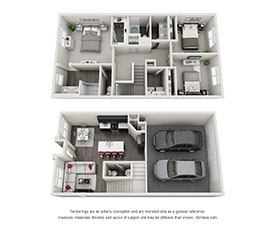 Download All 3 Bedroom Floor Plan images at EVO Apartments in Las Vegas, Nevada