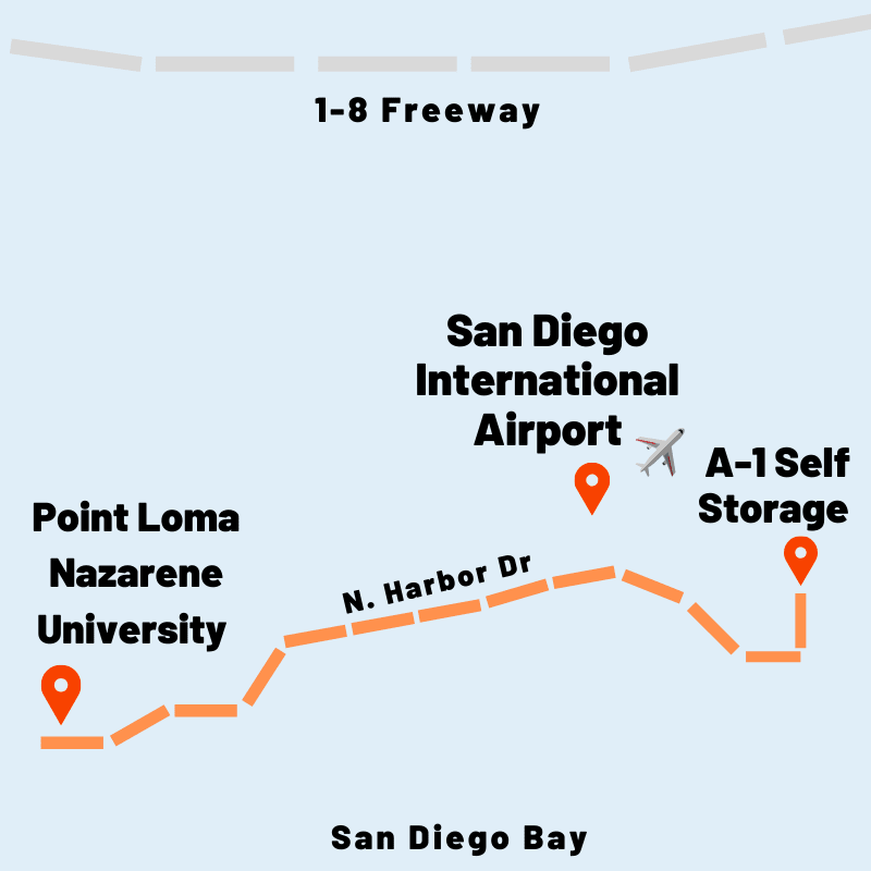 Map of directions from A-1 Self Storage to Point Loma Nazarene University and San Diego International Airport in San Diego, California