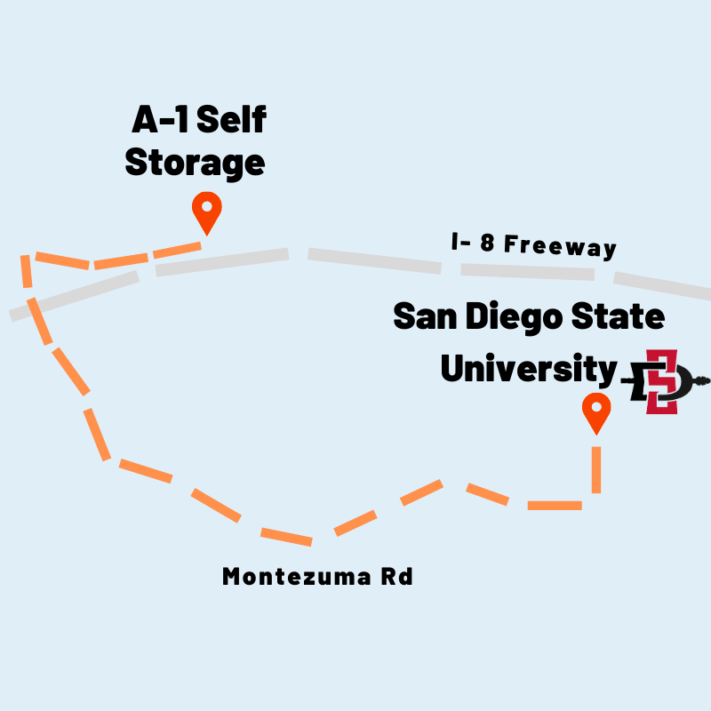 Directions from A-1 Self Storage to San Diego State University in San Diego, California