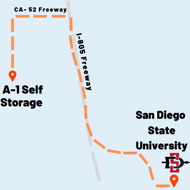 Map from A-1 Self Storage to San Diego State University in San Diego, California