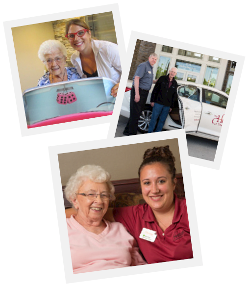 A collage of photos of happy residents and caregivers at The Heritage at Fountain Point in Norfolk, Nebraska