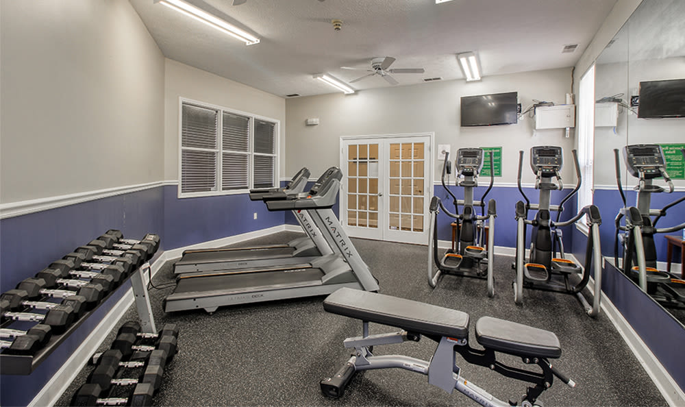 Fully equipped fitness center at Webster Green in Webster, New York