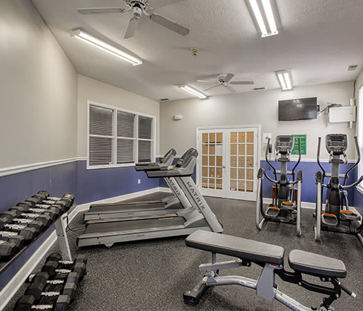 Fitness center at Webster Green in Webster, New York