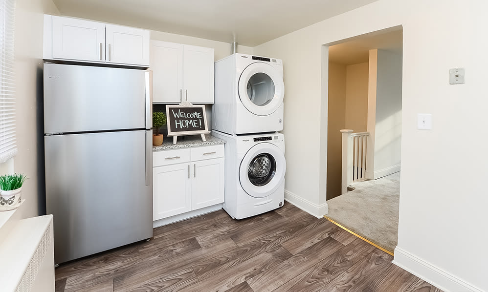 Modern washer and dryer machine at General Greene Village Apartment Homes in Springfield, NJ