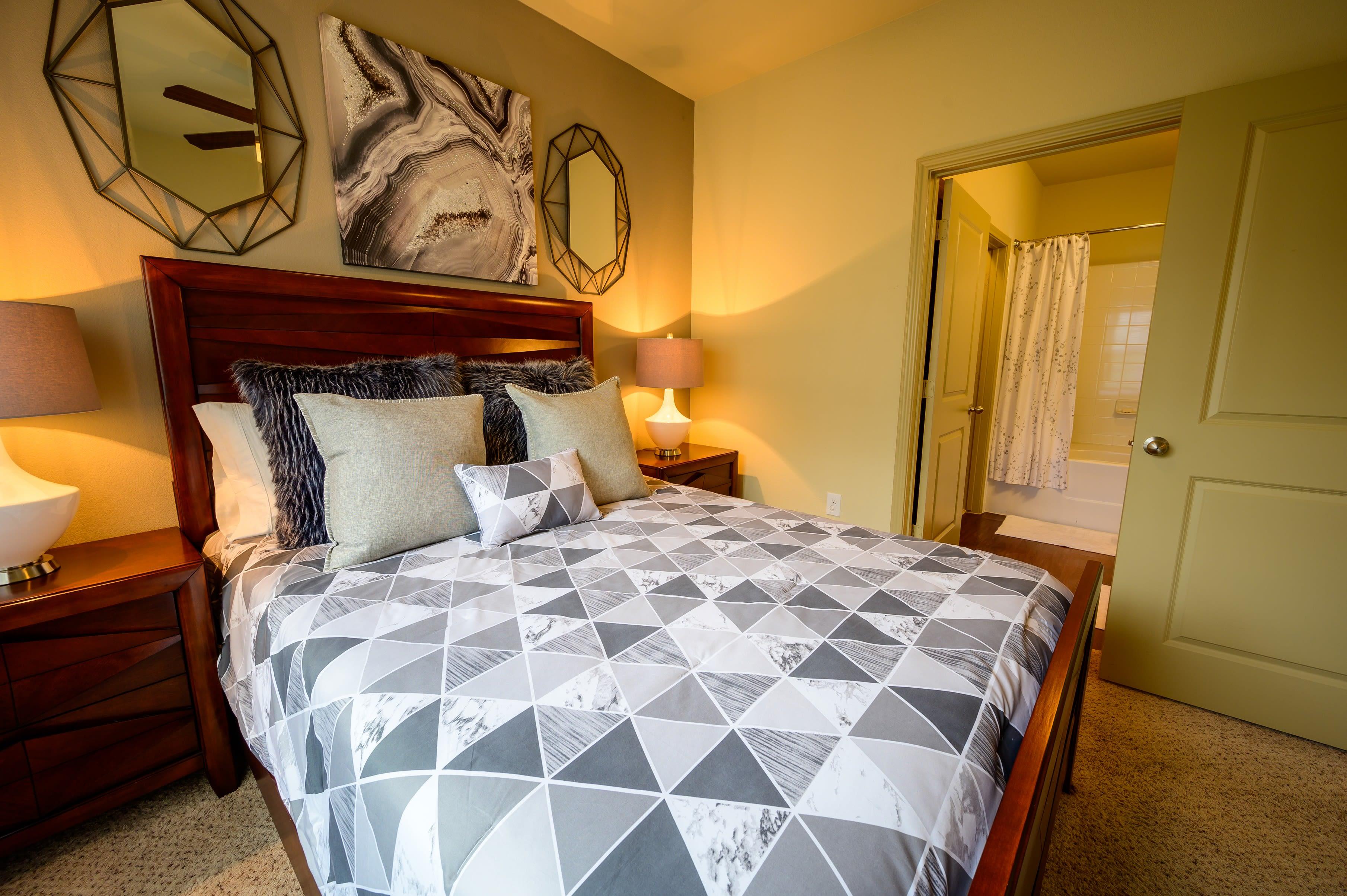 Main bedroom at Pecan Springs Apartments