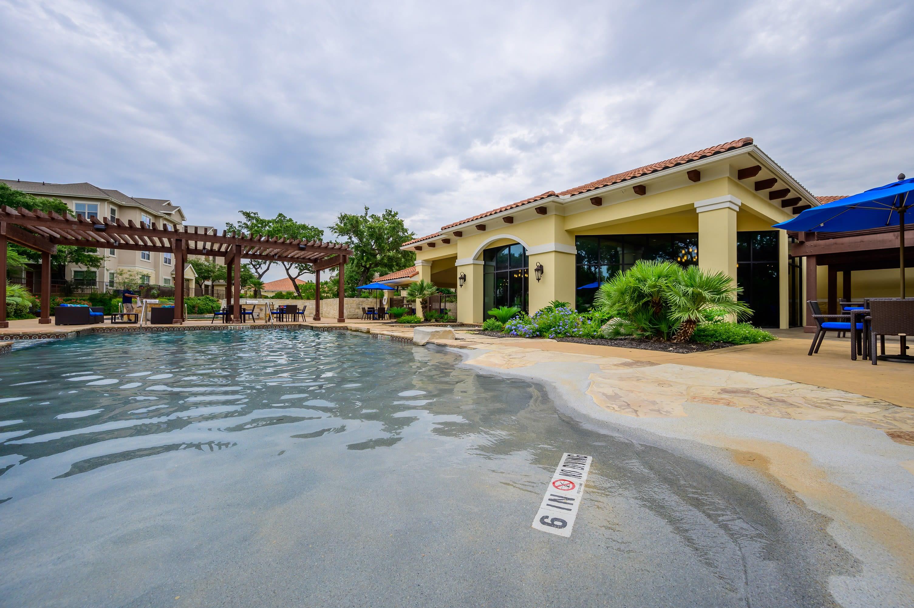 Resort style pool at Pecan Springs Apartments