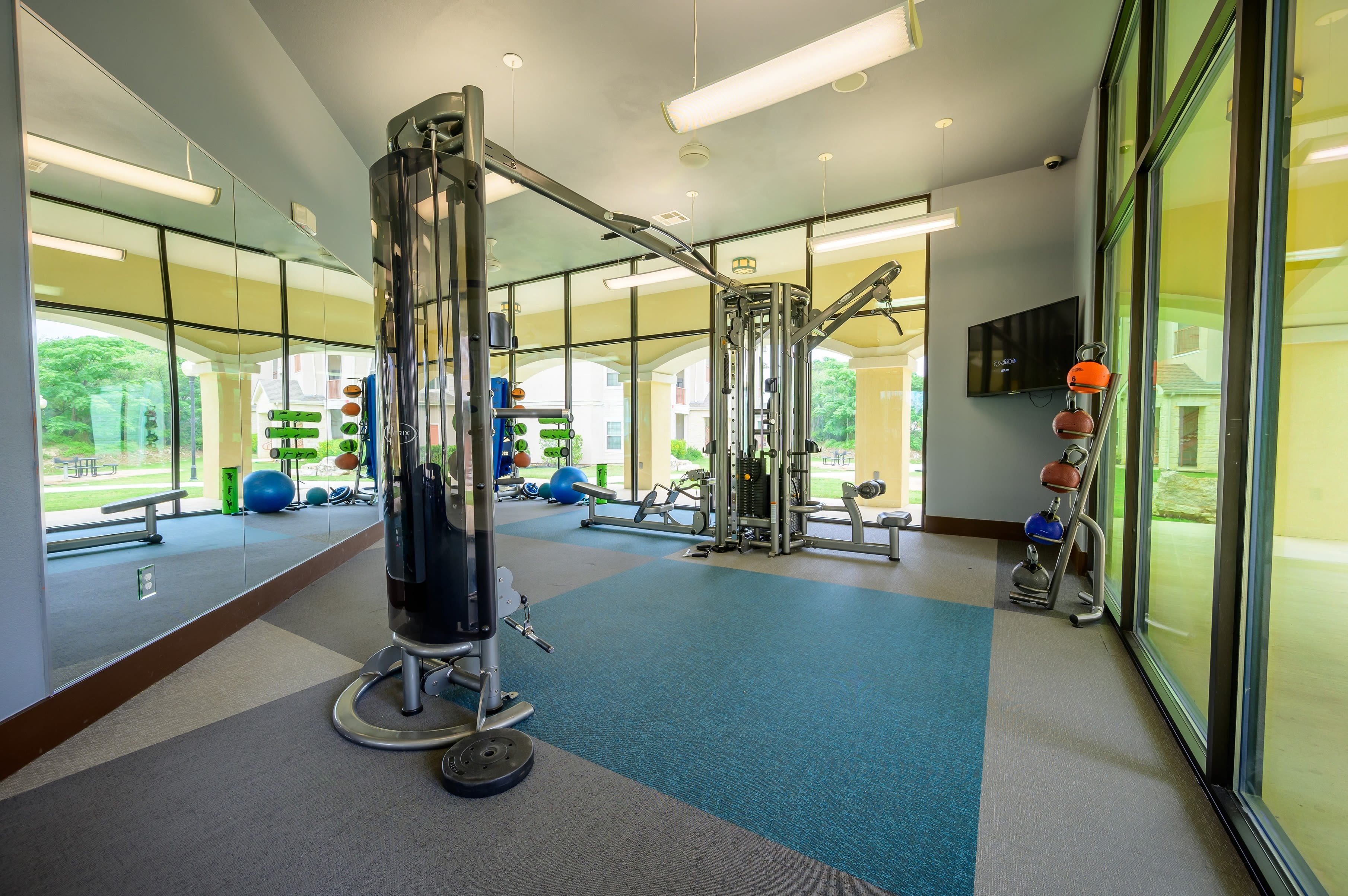 Exercise weights at Pecan Springs Apartments