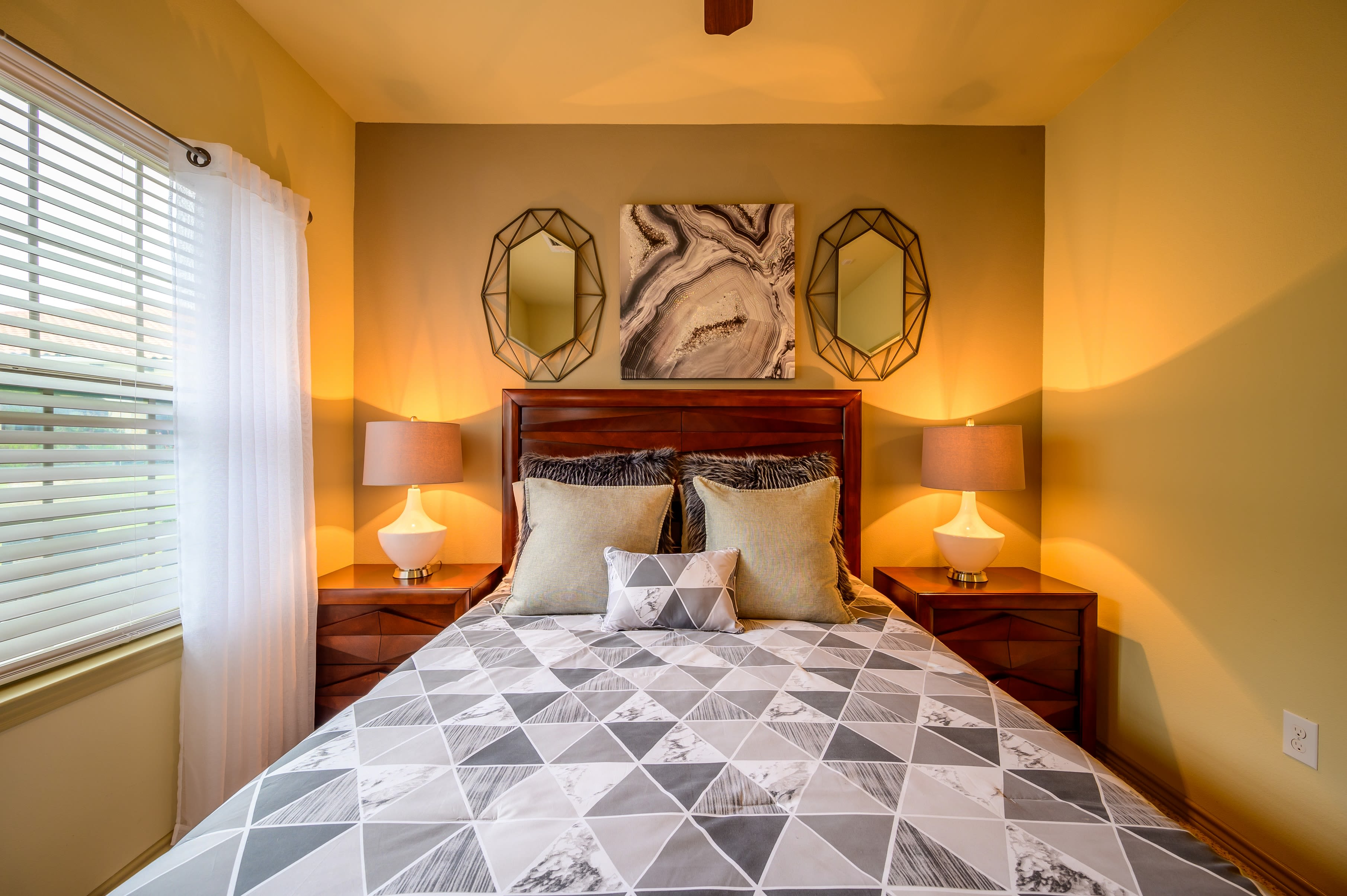 Guest bedroom at Pecan Springs Apartments