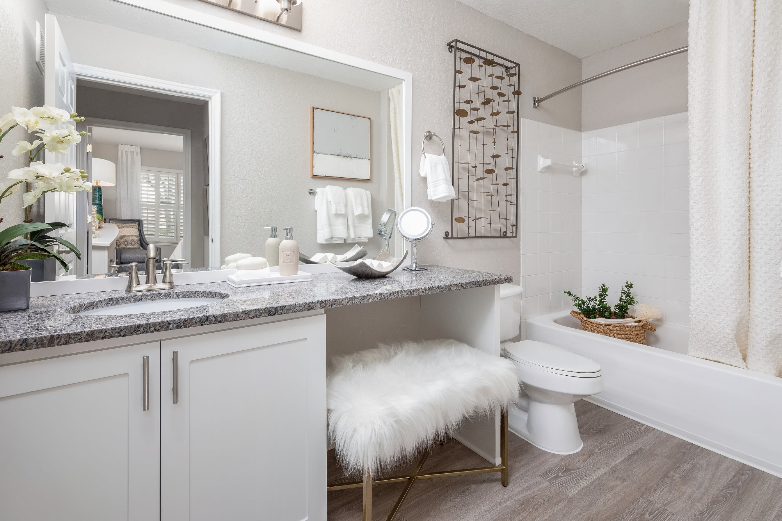 Large bathroom with granite countertops and bathtub at Amira at Westly in Tampa, Florida
