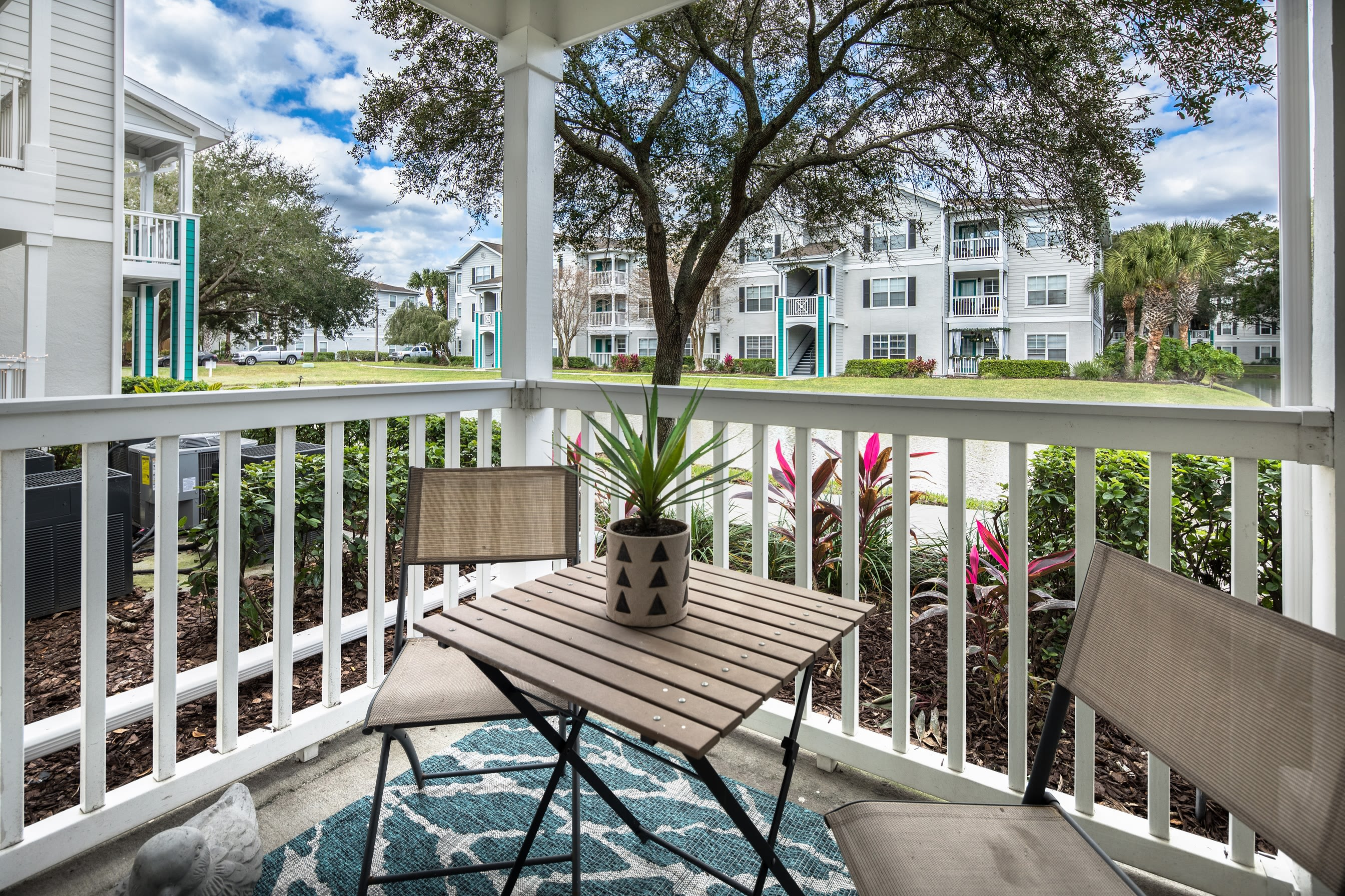 Back porch nook with great view at Amira at Westly in Tampa, Florida