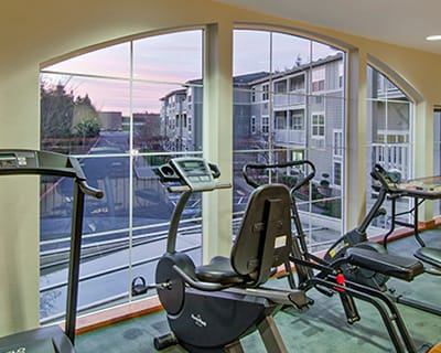 Exercise equipment at Cherry Park Plaza in Troutdale, Oregon