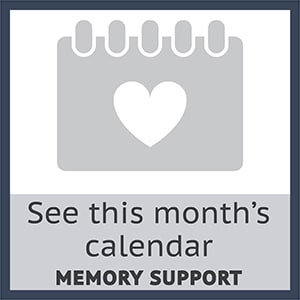 Check out this months memory support calendar at Cherry Park Plaza in Troutdale, Oregon