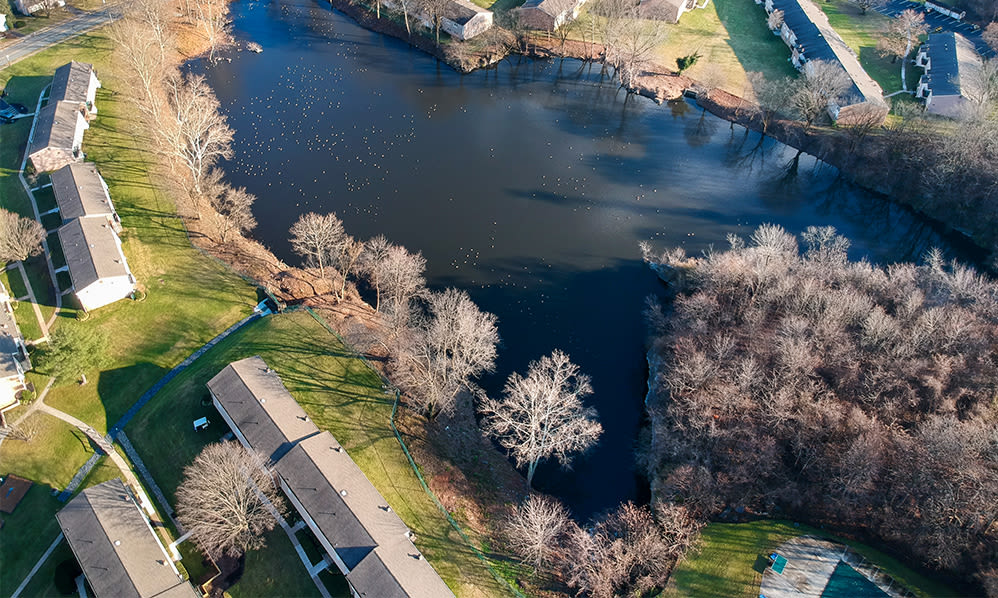 Aerial views at Sherry Lake Apartment Homes in Conshohocken, Pennsylvania