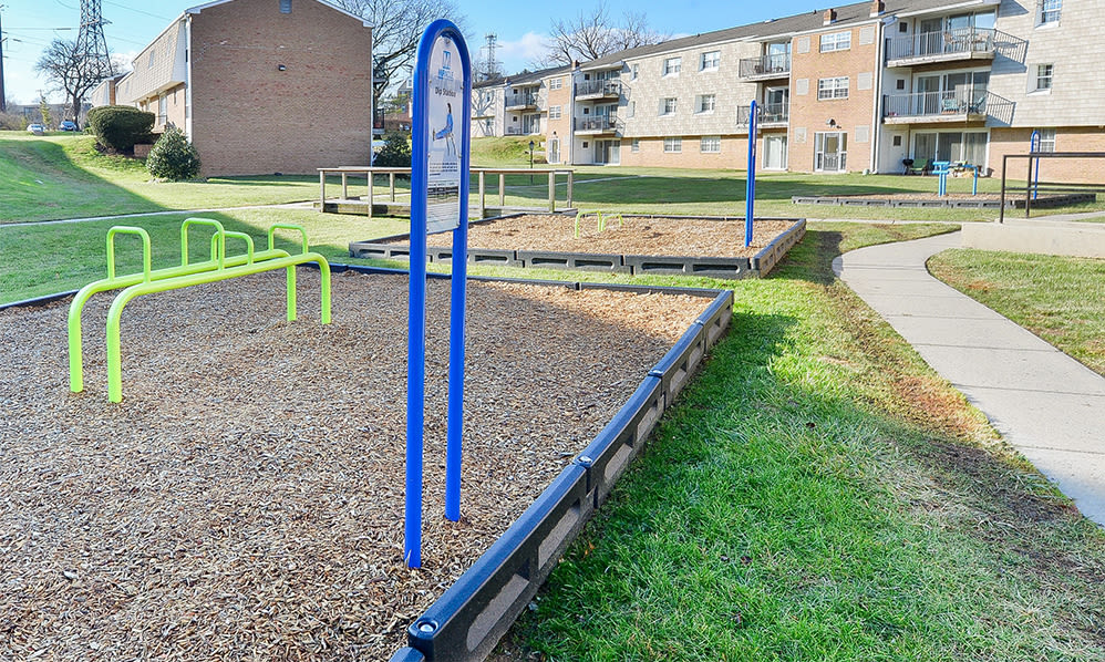 Outdoor fitness stations at Sherry Lake Apartment Homes in Conshohocken, Pennsylvania