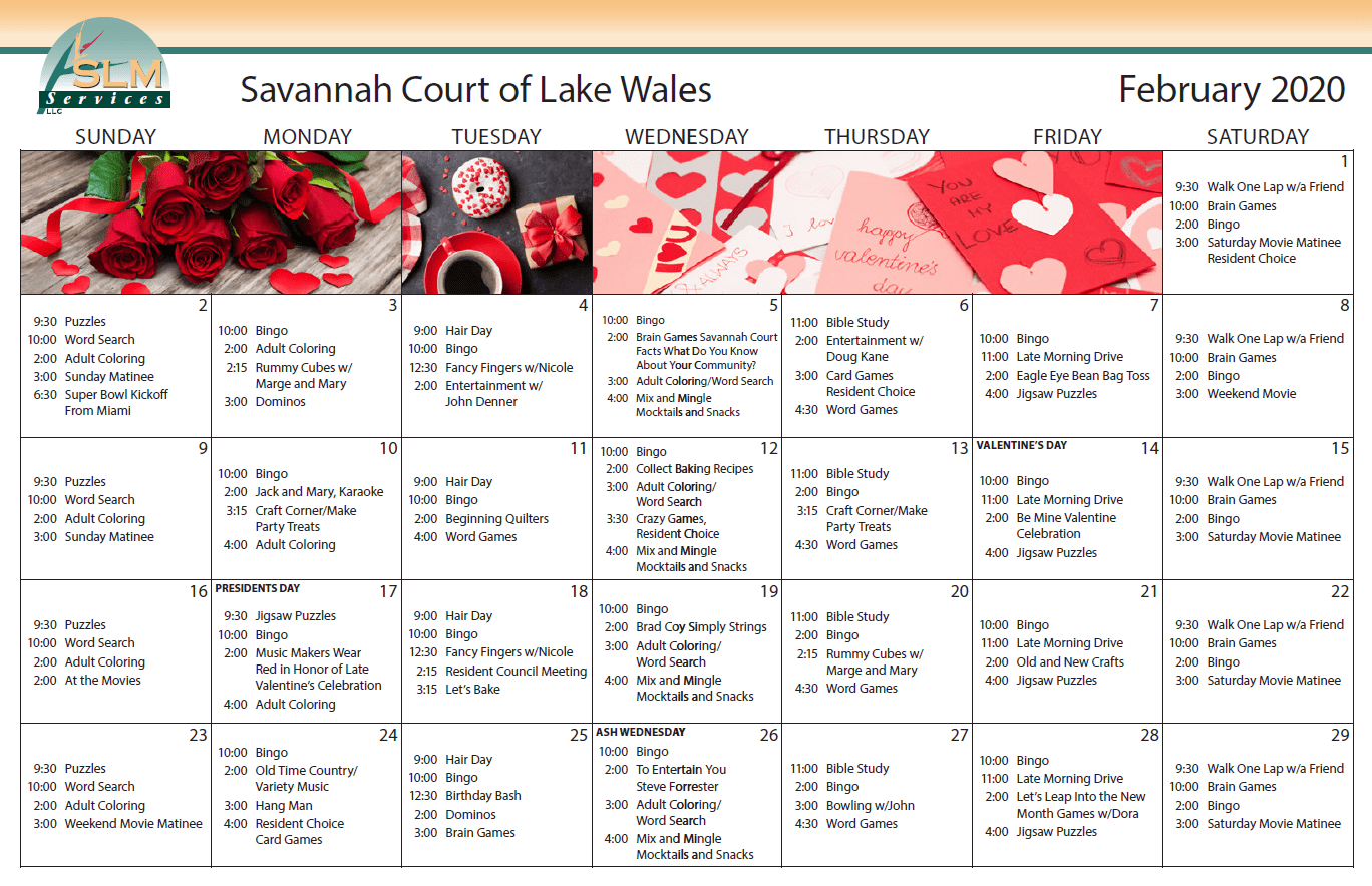 View our monthly calendar of events at Savannah Court of Lake Wales