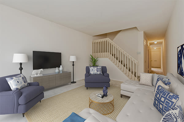 Spacious living room at Lincoln Park Apartments & Townhomes in West Lawn, PA