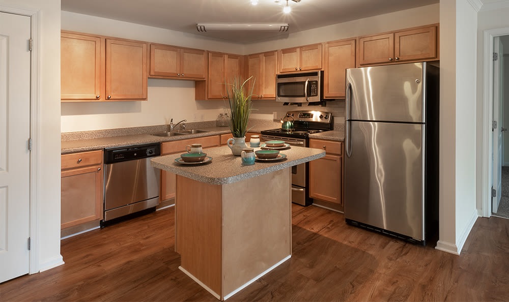 Kitchen with stainless steel appliances at Cannon Mills in Dover, Delaware
