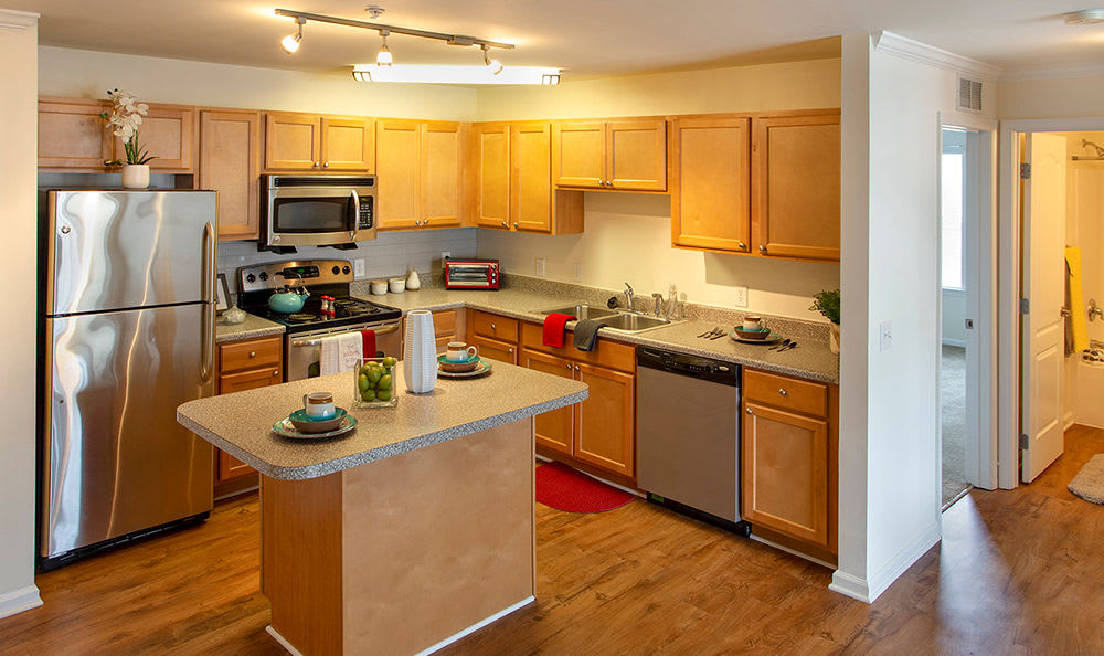 Fully equipped kitchen at Cannon Mills in Dover, Delaware