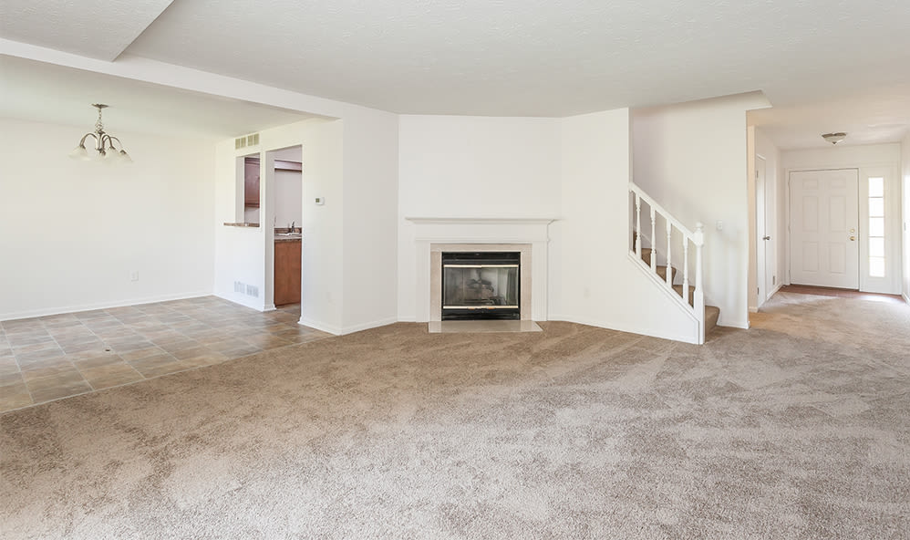 Beautiful apartments with a fireplace at CenterPointe Apartments and Townhomes in Canandaigua, New York